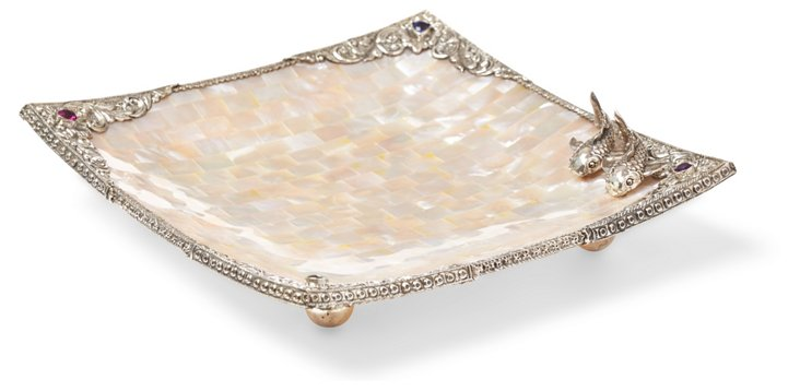 Large Mother-of-Pearl & SS Koi Tray