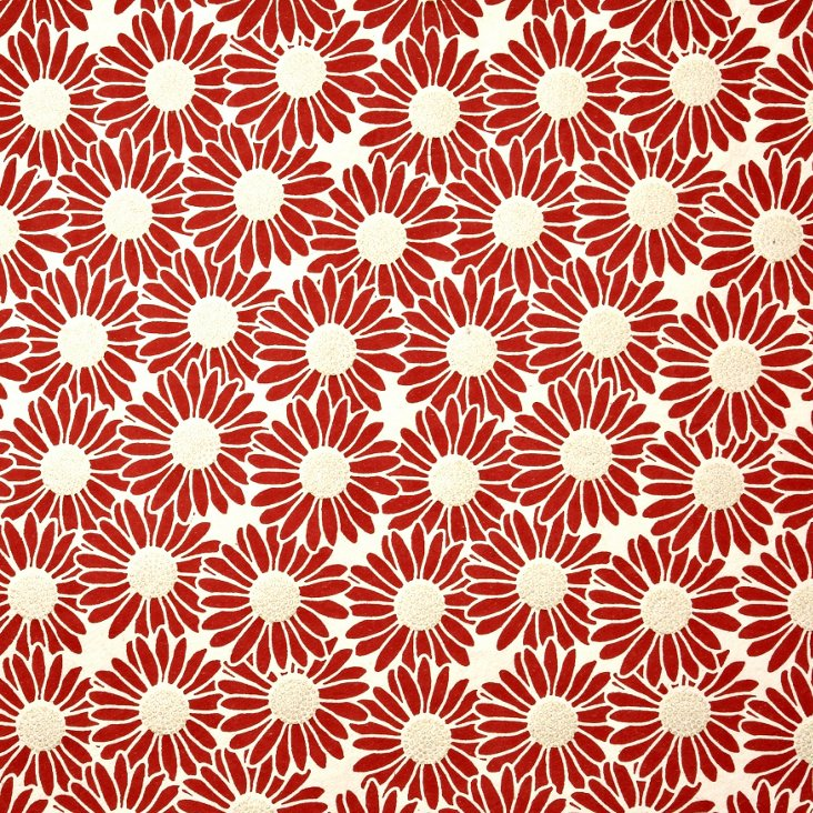 S/5 Daisy Gift Wrap, Red/Gold/Cream