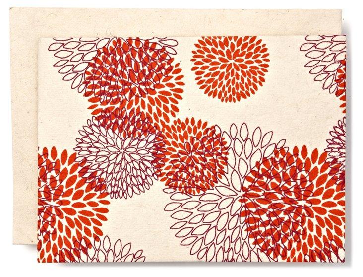 S/10 Pom-Poms Cards, Orange/Purple