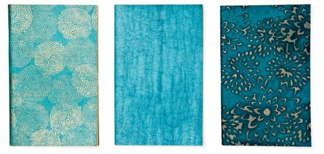 S/3 Assorted Journals, Turquoise