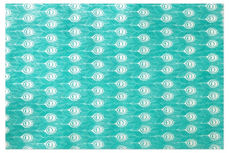 S/10 Peacock Gift Wrap Sheets, Turquoise