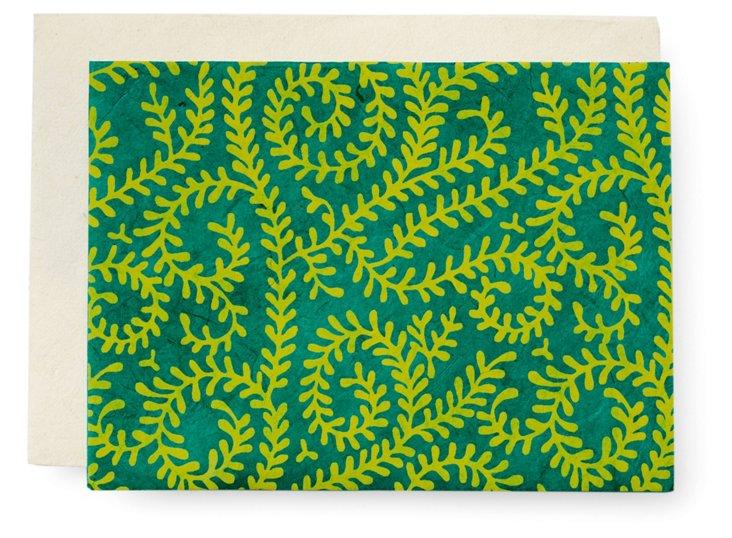 S/10 Vine Note Cards, Sea Green