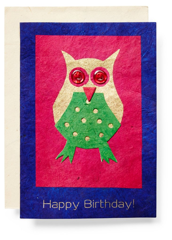 S/3 Birthday Cards, Owl
