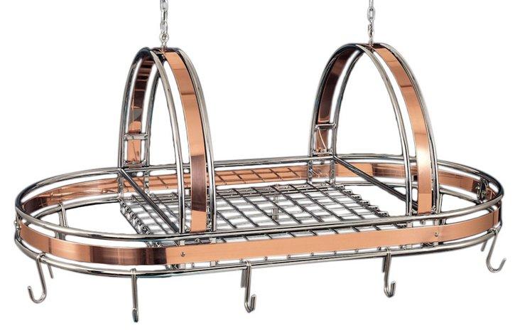 "Copper & Chrome Pot Rack, 36"" x 17"""