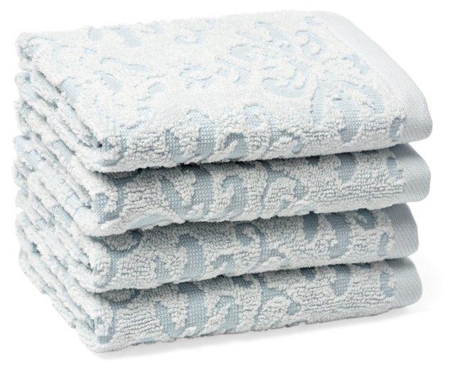 S/4 Diamond Washcloths, Spa Blue