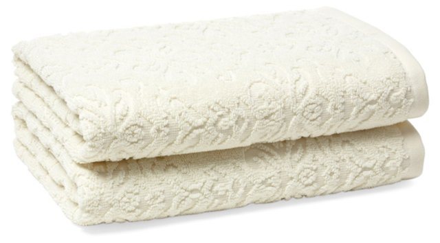 S/2 Diamond Hand Towels, Ivory