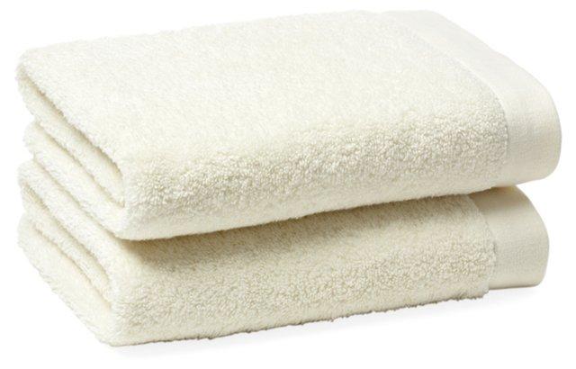 S/2 Hanging Loop Hand Towels, Ivory