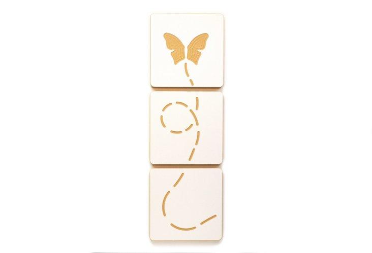 S/3 Butterfly Art Tiles, White