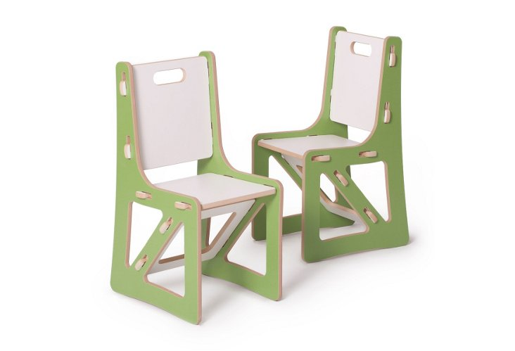 S/2 Kids Chairs, Green/White
