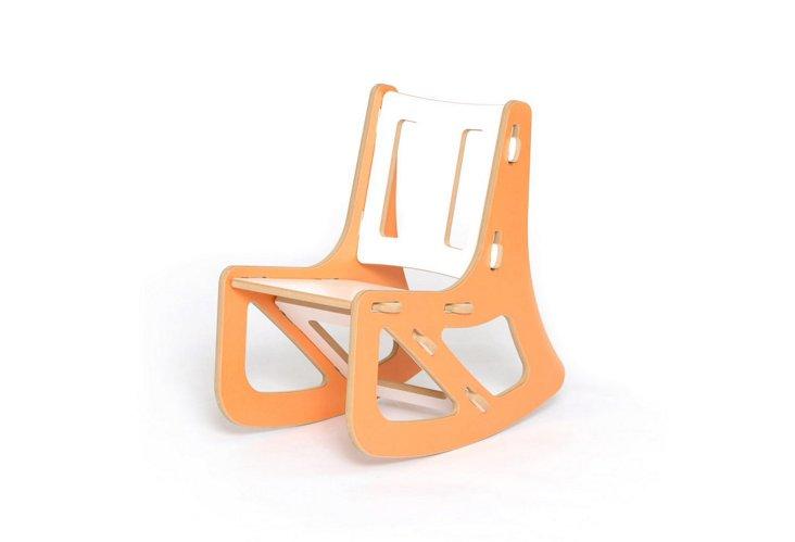 Kids Rocking Chair, Orange/White