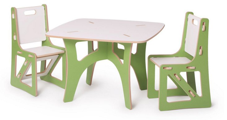 Kids Recyclable Table & Chair Set, Green