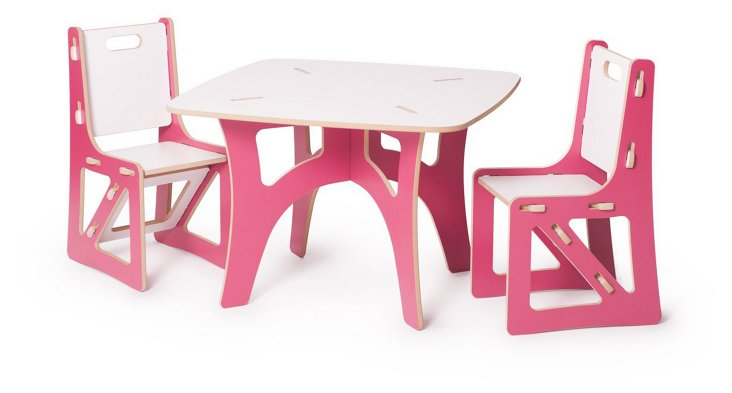 Kids Recyclable Table & Chair Set, Pink