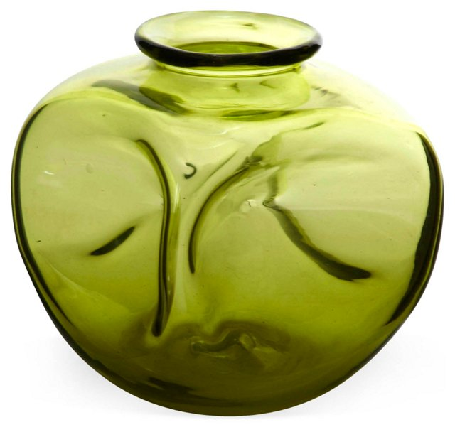 Chartreuse Blown Glass Vase