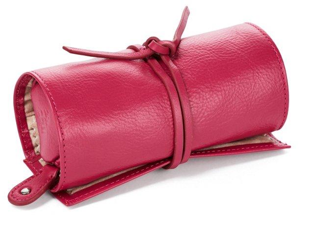 Leather Jewelry Roll, Raspberry