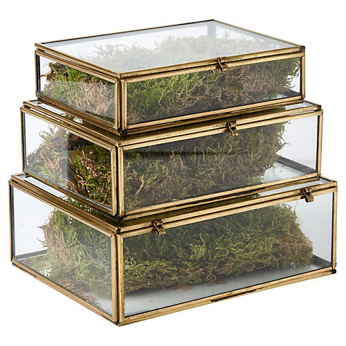 S/3 Santorini Glass Stacking Boxes, Gold