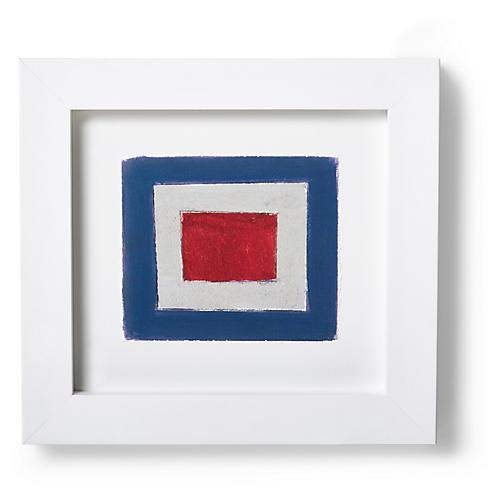 "Nautical Framed ""W"" Flag Signal Print, Red/Multi"