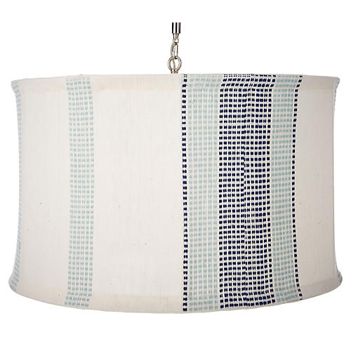 Suffolk Slipcover Pendant, Navy/Turquoise