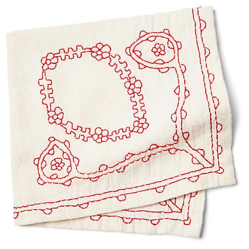 S/4 Floral Dinner Napkins, Red/White