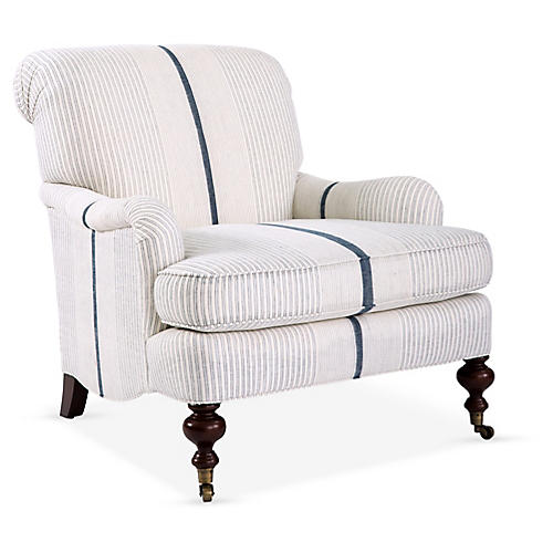 Chatsworth Accent Chair, White/Navy