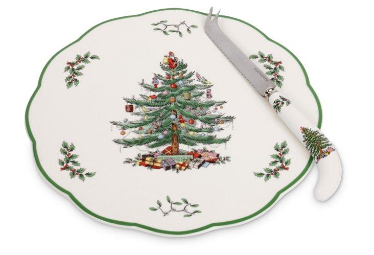 Spode Christmas Tree Plate & Knife