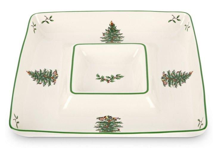 Spode Christmas Tree Chip & Dip Tray