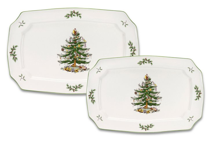 S/2 Spode Christmas Tree Platters