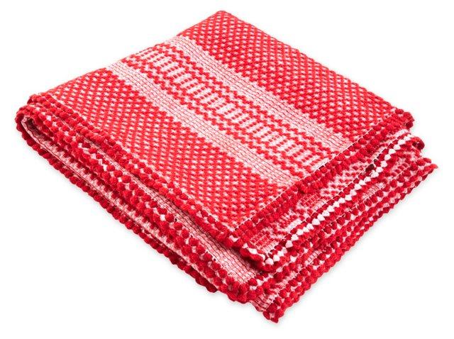 Vintage Greek Blanket, Red