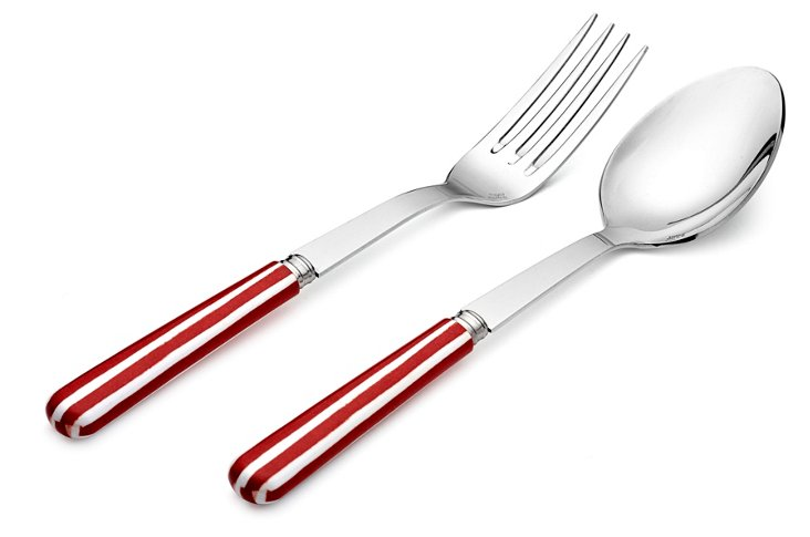 2-Pc Stripe Serving Set, Red