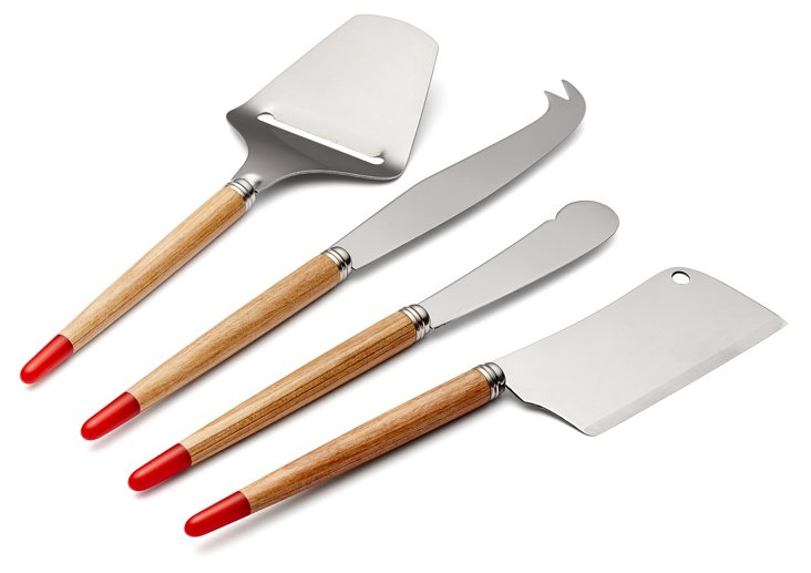 4-Pc Aquarelle Cheese Knife Set, Red