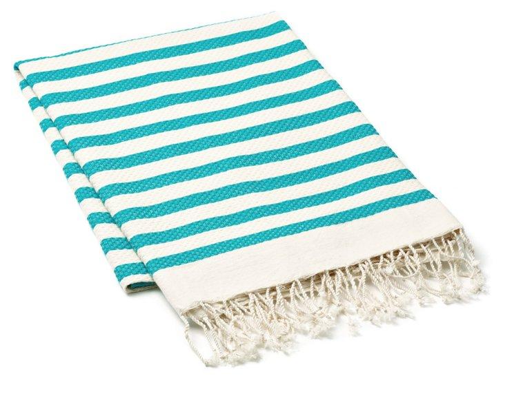Fouta Striped Towel, Aqua