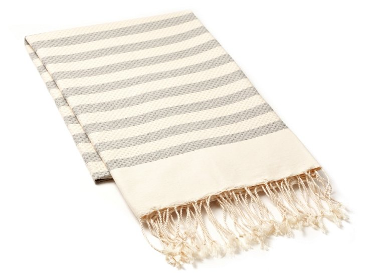 Fouta Small Striped Towel, Gray
