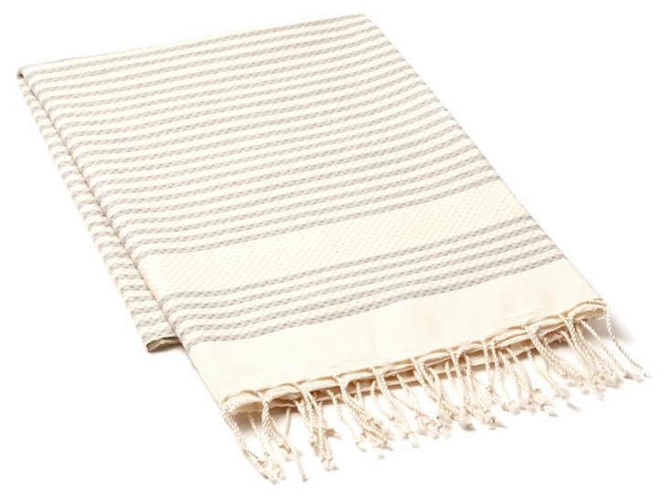 Fouta Tiny Striped Towel, Gray