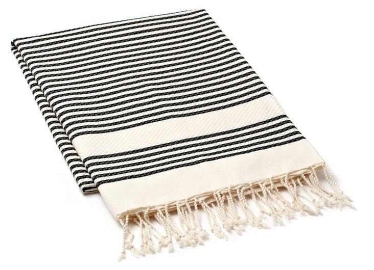 Fouta Tiny Striped Towel, Charcoal