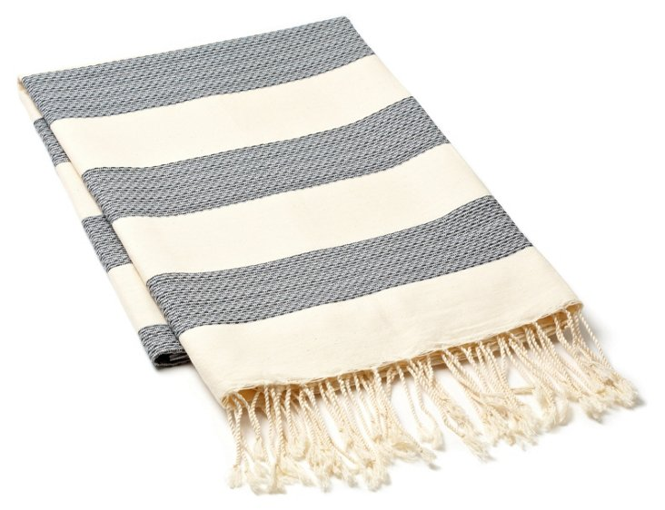 Fouta Chine Striped Towel, Gray