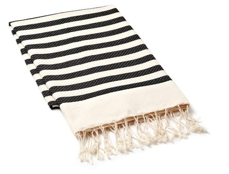 Fouta Small Striped Towel, Charcoal