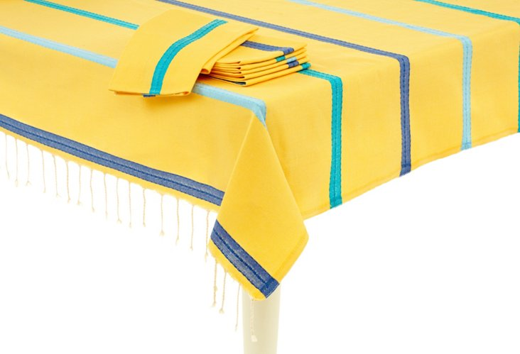 Tablecloth & 6 Napkins, Yellow/Blues