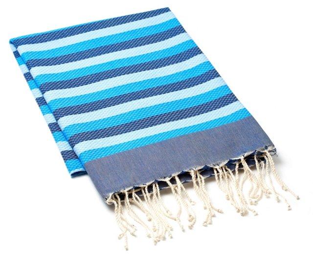 Fouta Towel Tricolor, Blue/Turquoise