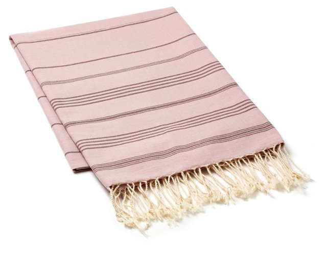 Fouta Thin Striped Towel, Dark Mauve