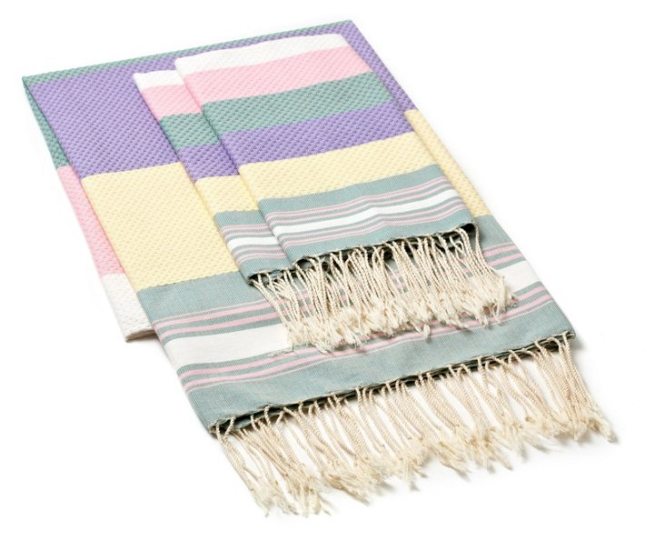 Fouta & S/2 Hand Towels, Pastel