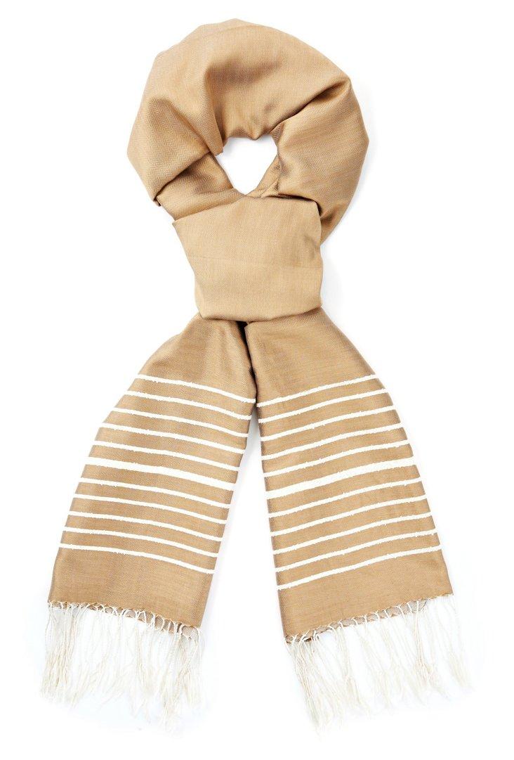 Bouclette Silk Scarf, Beige
