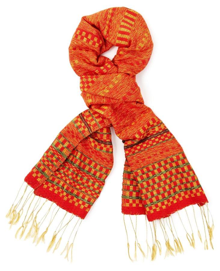 Cotton/Silk Striped Scarf, Orange