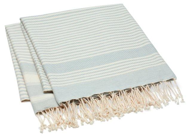 Set of 2 Stripe Fouta Towels, Light Blue