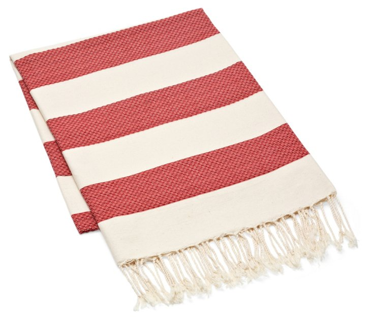 Fouta Chine Striped Towel, Red