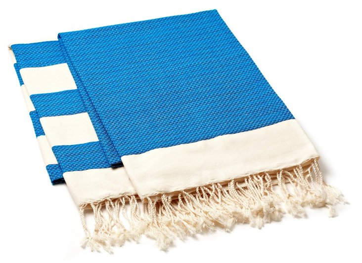 S/2 Fouta Chine Towels, Blue