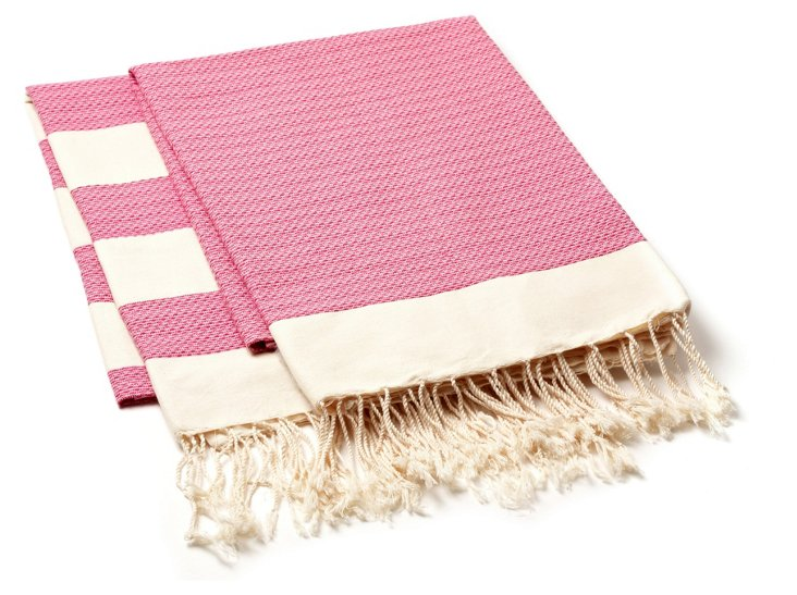 S/2 Chine Fouta Towels, Pink
