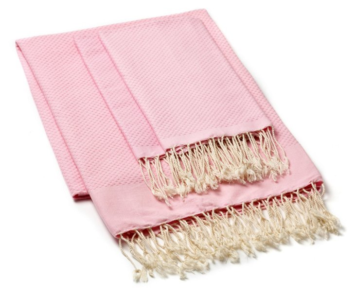 Fouta Towel & S/2 Hand Towels, Baby Pink