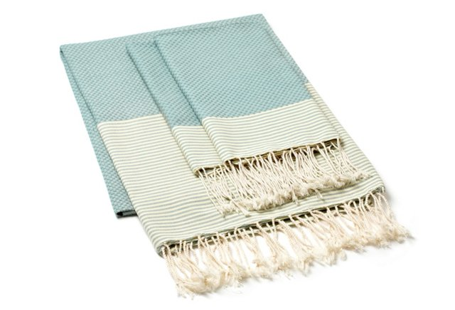 Fouta Towel & S/2 Hand Towels, Grn/Straw