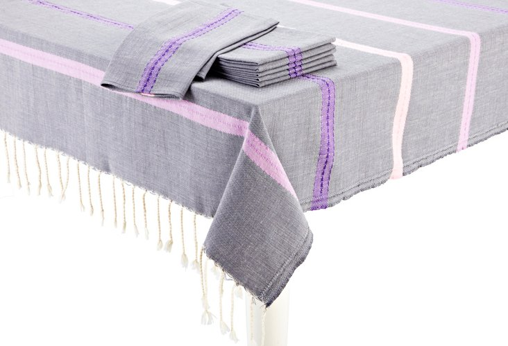 Tablecloth & S/6 Napkins, Gray/Pink