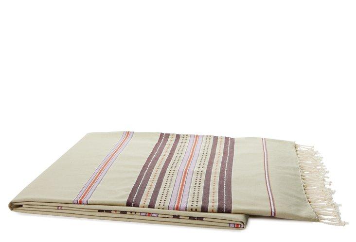 Striped Cotton Throw, Almond