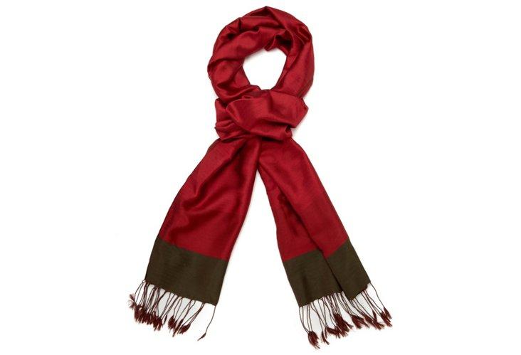 Small Stripe Silk Scarf, Red/Khaki